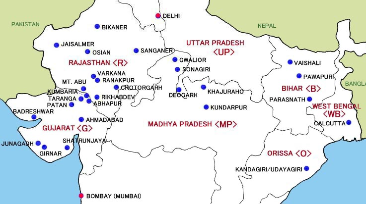 Map of Jaina Temples in Northern India