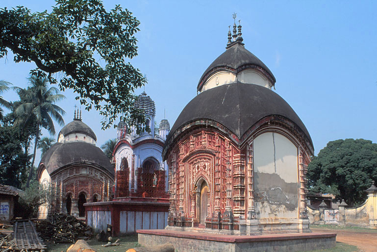 Bangaldar Roofs of Hindu temples at Atpur village, West Bengal.